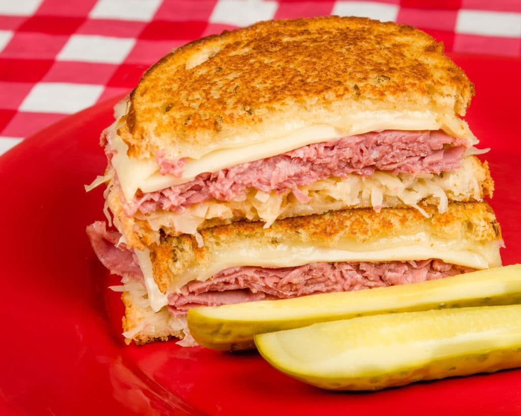 Rueben sandwich with dill pickle